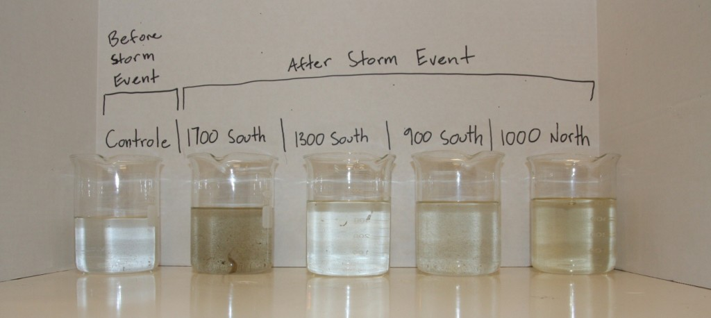 Jordan River water collected before and after a storm event by students from the Salt Lake Center for Science Education.